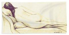 Reclining Nude Hand Towel by Edgar Torres