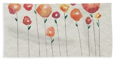 Red Abstract Floral Bath Towel