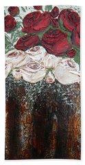 Red And Antique White Roses - Original Artwork Bath Towel
