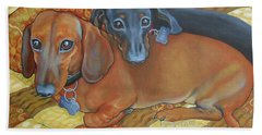 Red And Black Dachshunds - Best Buds Hand Towel