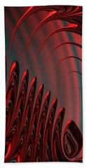 Red And Black Modern Fractal Design Bath Towel by Matthias Hauser
