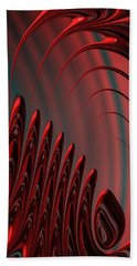 Red And Black Modern Fractal Design Bath Towel