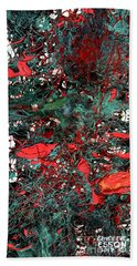 Hand Towel featuring the painting Red And Black Turquoise Drip Abstract by Genevieve Esson