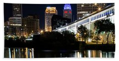 Hand Towel featuring the photograph Red And Blue In Cleveland by Dale Kincaid
