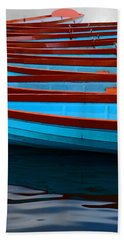 Red And Blue Paddle Boats Hand Towel