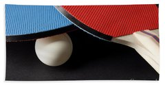 Red And Blue Ping Pong Paddles - Closeup On Black Bath Towel
