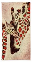 Red And Brown Giraffes Bath Towel by Jane Schnetlage