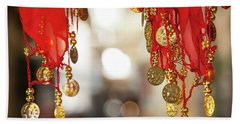 Red And Gold Entrance To Market Hand Towel by Yoel Koskas