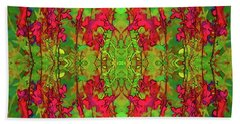Red And Green Floral Abstract Hand Towel by Linda Phelps