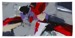 Hand Towel featuring the painting Red And Grey Abstract By Elise Palmigiani by Elise Palmigiani
