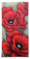 Bath Towel featuring the painting Red And Grey by Inese Poga