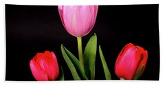 Red And Lavender Tulips Hand Towel