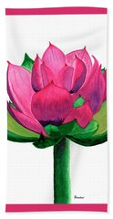 Red And Pink Lotus Floral Watercolor Painting 619 Bath Towel