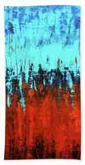 Red And Turquoise Abstract Bath Towel