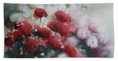 Red And White Flowers Bath Towel