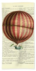Red And White Striped Hot Air Balloon Antique Photo Hand Towel