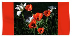 Red And White Tulips Hand Towel by Kathleen Stephens