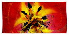 Red And Yellow Flower Hand Towel by Judi Saunders