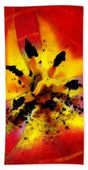 Red And Yellow Flower Hand Towel