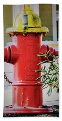 Red And Yellow Hydrant Hand Towel