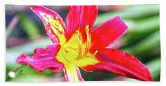 Red And Yellow Orchid Bath Towel