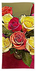 Red And Yellow Rose Bouquet Bath Towel
