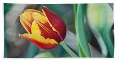 Red And Yellow Tulip Bath Towel by Joshua Martin