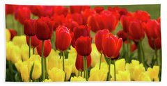 Bath Towel featuring the photograph Red And Yellow Tulips by Mary Jo Allen