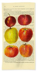 Red Apples Still Life Vintage Illustration Bath Towel