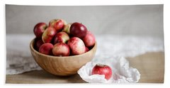 Red Apples Still Life Hand Towel by Nailia Schwarz