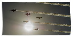 Bath Towel featuring the photograph Red Arrows Backlit Arrival  by Gary Eason