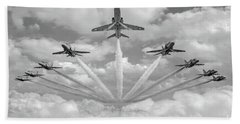 Bath Towel featuring the photograph Red Arrows Smoke On Bw Version by Gary Eason