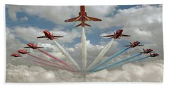 Bath Towel featuring the photograph Red Arrows Smoke On  by Gary Eason
