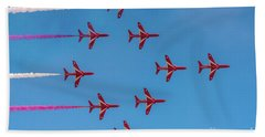 Bath Towel featuring the photograph Red Arrows Typhoon Formation by Gary Eason