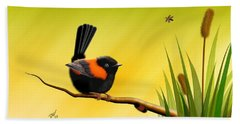 Bath Towel featuring the digital art Red Backed Fairy Wren by John Wills