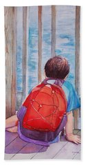 Red Backpack Bath Towel