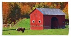 Red Barn Among Fall's Beauty Hand Towel