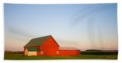 Red Barn And The Moon Bath Towel