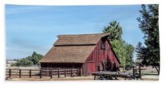 Red Barn And Wagon Bath Towel