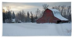Red Barn At Dawn Hand Towel