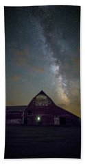 Bath Towel featuring the photograph Red Barn Galaxy  by Aaron J Groen