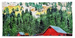 Red Barn In Autumn Hand Towel