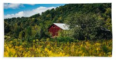 Hand Towel featuring the photograph Red Barn In Early Autumn by Shane Holsclaw