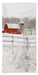 Red Barn In Winter Hand Towel