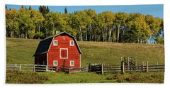 Red Barn On The Hill Bath Towel
