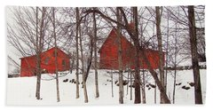Red Barns Hand Towel by Betsy Zimmerli