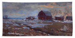 Red Barns In The Farm Hand Towel