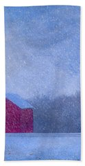 Red Barns In The Moonlight Hand Towel