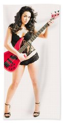 Red Bass Guitar Bath Towel