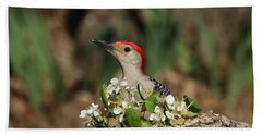 Red-bellied Woodpecker In Spring Bath Towel by Sheila Brown